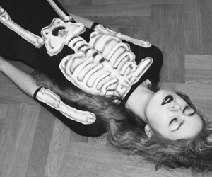 girl, hair, and skeleton image