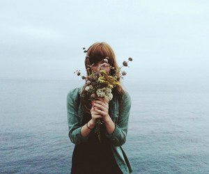 flowers, girl, and sea image