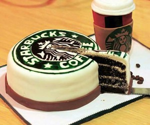 starbucks, cake, and coffee image