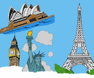 Big Ben, drawing, and eiffel tower image