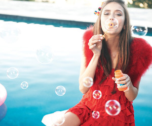 blue, bubbles, and girl image