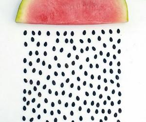 watermelon, rain, and fruit image