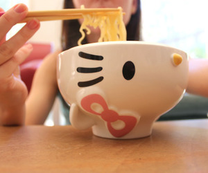 hello kitty, noodles, and bowl image