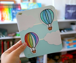art, balloons, and clouds image
