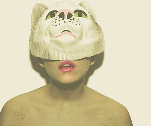 girl, mask, and cat image