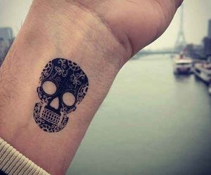 tattoo, black, and skull image