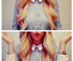 hairstyle, blonde, and curls image