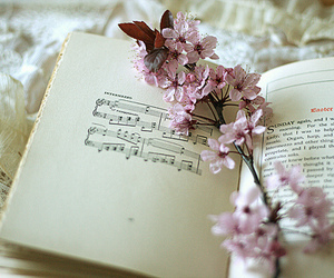flowers, book, and music image