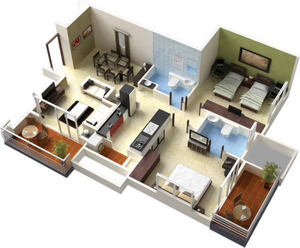 House 3d Floor Plan And A Picture Of