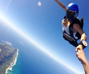 jump, sky, and skydiving image