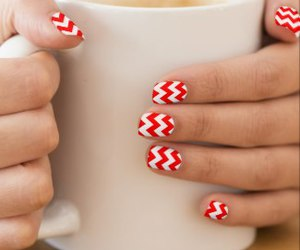 chevron, girly, and red image