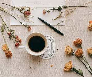 flowers, coffee, and vintage image