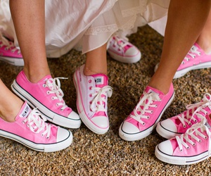 pink, converse, and wedding image