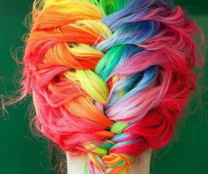 hair, rainbow, and braid image