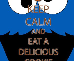 cookie monster, keep calm, and eat image