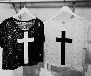 fashion, cross, and black image