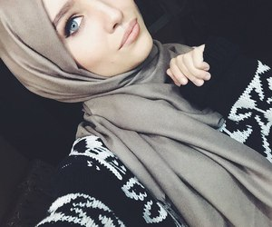 hijab, muslim, and beauty image