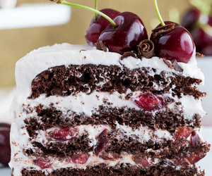 black forest cake, cherry, and cake image