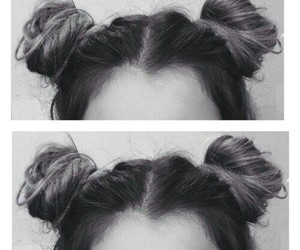 hair, buns, and hairstyle image