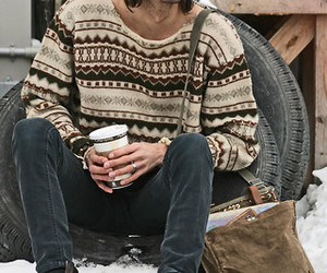 beanie, boots, and guy image