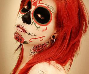 girl, red, and skull image