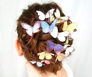 butterfly, hair, and hair style image