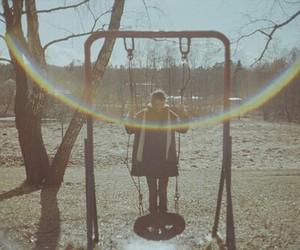 rainbow, swing, and vintage image