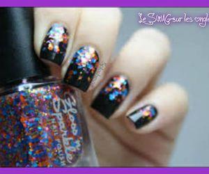 black, nail, and nail art image