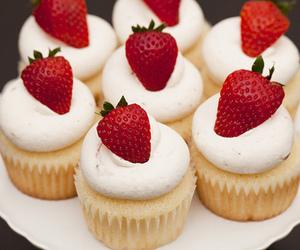 cupcake, strawberry, and food image