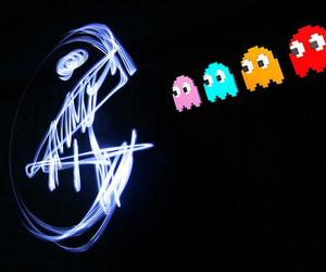 pacman, light, and photography image