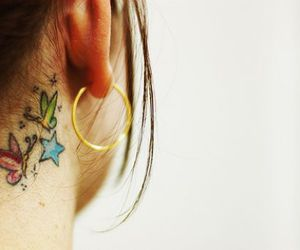 butterfly, neck, and tattoo image