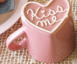 pink, kiss, and cup image