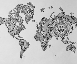black and white, draw, and map image