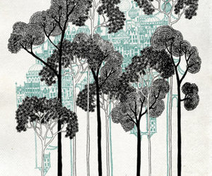 art, buildings, and trees image