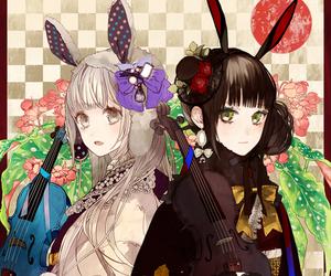 anime, violin, and bunny image