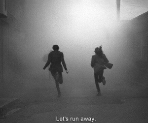 run, boy, and fog image