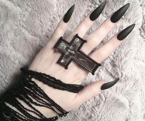 nails, goth, and black image