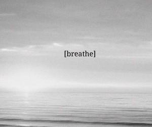 breathe, sea, and black and white image