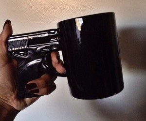 black, gun, and cup image