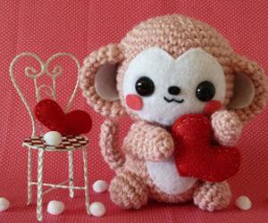 adorable, monkey, and valentine image
