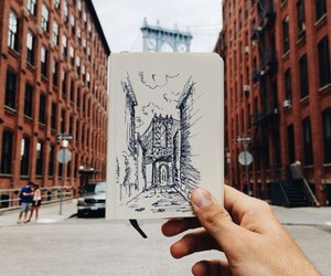 art, city, and hand image
