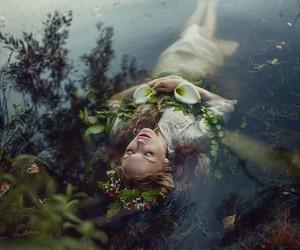 fantasy, flowers, and lake image