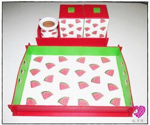 watermelons and kitchen tools image