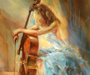 art, music, and cello image