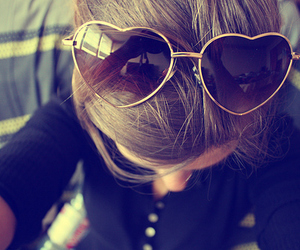 girl, heart, and sunglasses image