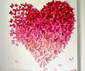 heart, butterfly, and pink image