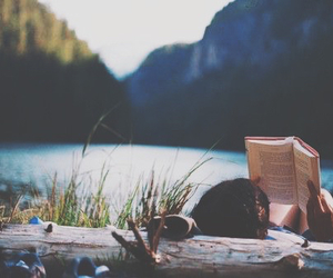 book, lake, and nature image