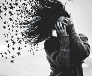 black and white, girl, and life image
