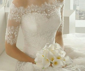 wedding dress, wedding, and love image