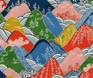 colorful and illustrated mountains image